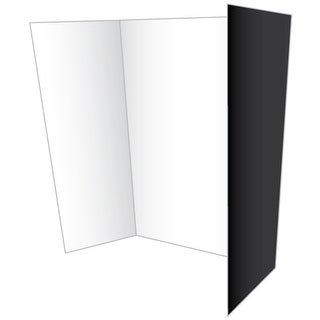 """Tri-Fold Two Cool Double-Sided Eco Project Board 28""""X40""""-Black/White Fob: Mi"""
