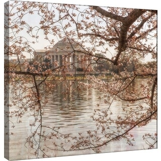 "PTM Images 9-101247  PTM Canvas Collection 12"" x 12"" - ""Cherry Blossoms 8"" Giclee Jefferson Memorial Art Print on Canvas"