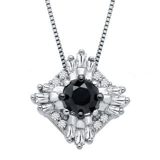 3 8 Ct Black White Diamond Pendant In 10K White Gold Multi Color