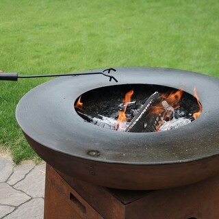 Sunnydaze Durable Black Steel Fire Pit Poker - Heat-Resistant Handle - 16-Inch