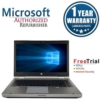 "Refurbished HP EliteBook 8460P 14"" Laptop Intel Core i7-2620M 2.7G 8G DDR3 500G DVDRW Win 10 Pro 1 Year Warranty - Silver"