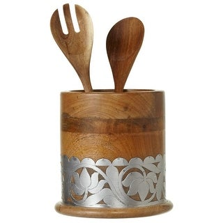 "7"" Wooden Brown and Silver Floral Designed Inlay Decorative Utensil Holder"
