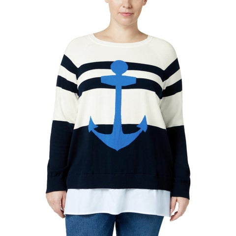 Tommy Hilfiger Womens Plus Crewneck Sweater Woven Striped