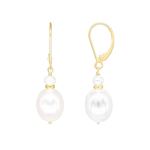 14K White Pearl Gold Roundel Leverback Earring