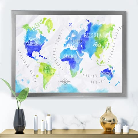 Designart 'World Map In Green and Blue' Modern Framed Art Print