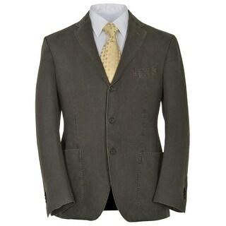 Lardini Mens Slim Fit Deep Green Olive Linen Suit 38R Regular 38R Pants 32W