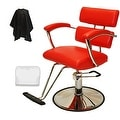 LCL Beauty Contemporary Red Hydraulic Barber Styling Chair with Padded Armrests - Thumbnail 0