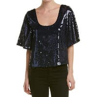 Free People Night Fever Sequined Top Blouse Navy - m