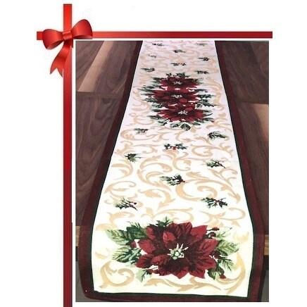 Homvare Holiday Tapestry Runner 13 x 72 - Poinsettia
