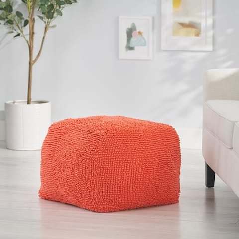 Moloney Modern Microfiber Chenille Pouf by Christopher Knight Home