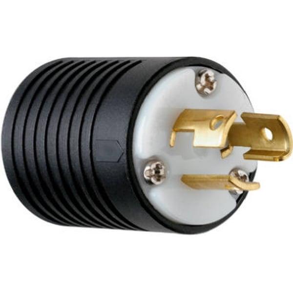 Pass & Seymour Turnlok Plug, 15A, 125V, Black & White