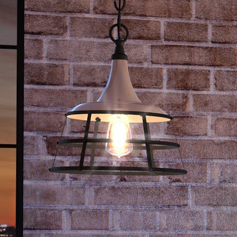 """Luxury Urban Loft Pendant Light, 14.25""""H x 12""""W, with Utilitarian Style, Aged Pewter, UHP3850 by Urban Ambiance"""