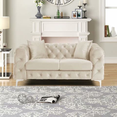Morden Fort Modern Contemporary Love Seat with Deep Button Tufting Dutch Velvet, Solid Wood Frame and Iron Legs