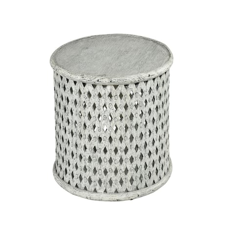 The Gray Barn Shiloh Round Aged Alabaster End Table