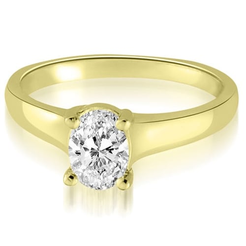 0.75 cttw. 14K Yellow Gold Classic Lucida Oval Cut Diamond Engagement Ring