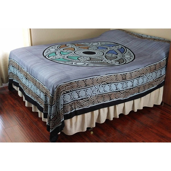 Handmade 100% Cotton Celtic Wheel of Life Tapestry Bedspread Coverlet in Twin Full Queen Blue