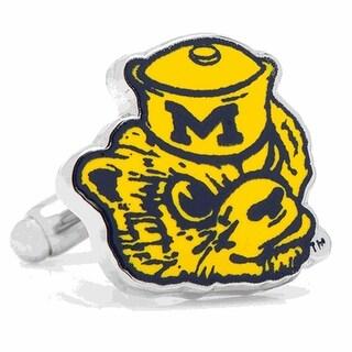 Rhodium Plated Michigan Wolverines Retro Logo Cufflinks - Yellow
