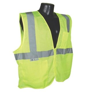 Radians SV2ZGML Class 2 Economy Mesh Safety Vest With Zipper, Green, Large