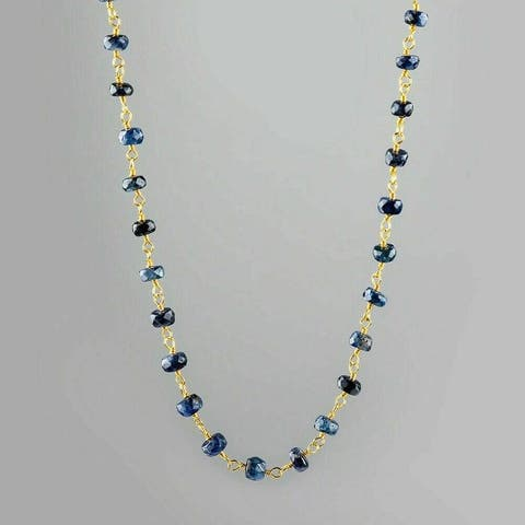 Evaluesell Handmade 14 ct Sterling Silver Blue Sapphire Gemstone Beaded Necklace - Stone Weight 22-24 Carat