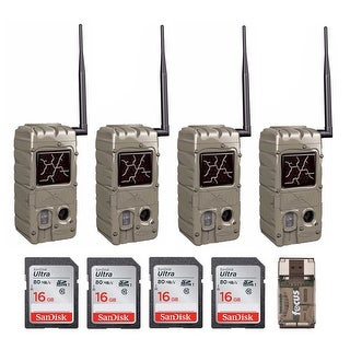 Cuddeback 20MP Dual Flash Trail Camera with 16GB Card (4-Pack) and Card Reader
