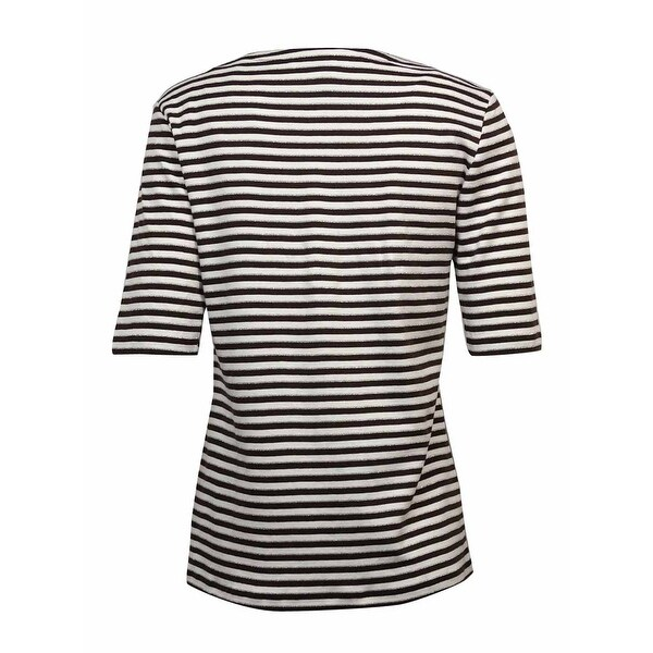 Charter Club Elbow-Sleeve Metallic-Striped Top