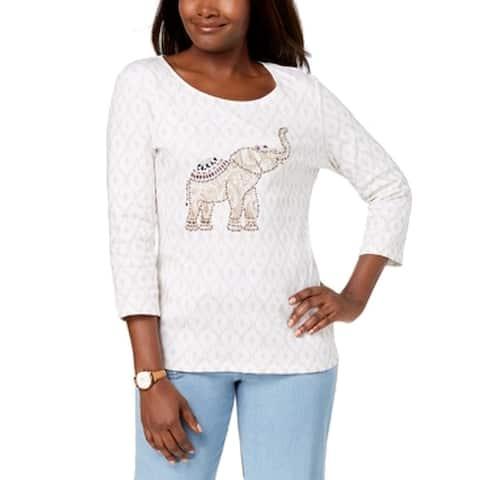 Karen Scott Women's Top White Size Small S Knit Embellished-Elephant