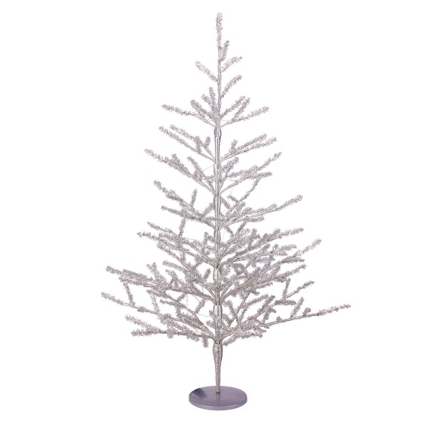 Pre Lit Christmas Twig Tree: Shop 3' Pre-Lit Silver Tinsel Twig Artificial Christmas