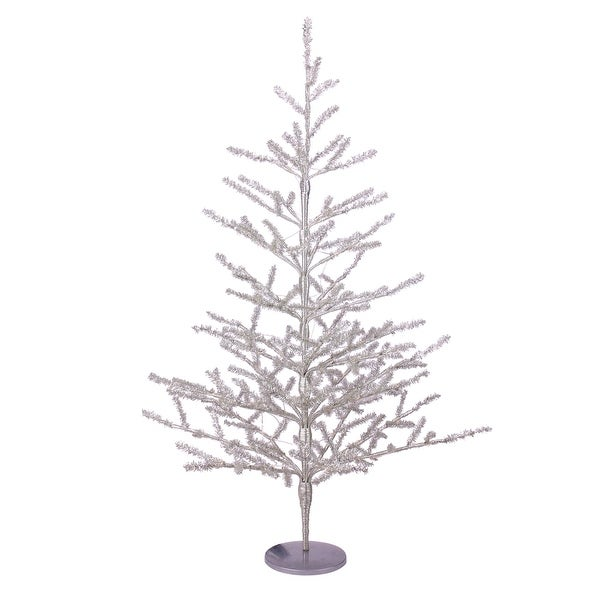 Shop 3' Pre-Lit Silver Tinsel Twig Artificial Christmas Tree - Clear LED Lights - 3 Foot - Free ...