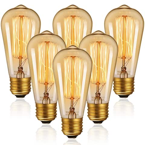 Vintage Edison Bulbs, 60W ST64 Filament Bulbs, Antique Squirrel Cage Tungsten, Dimmable, 2200K Amber Light, E26 Base