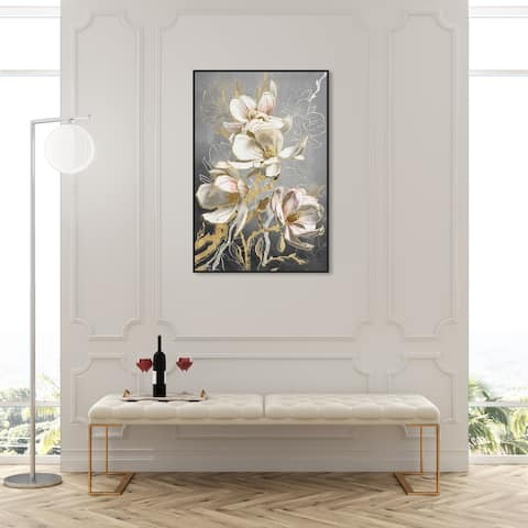 Oliver Gal 'Modern Van Gogh Day' Classic and Figurative Wall Art Framed Canvas Print Realism - Gold, White