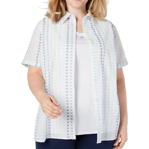 Alfred Dunner Womens Blouse White Size 3X Plus 2Fer Embellished Textured