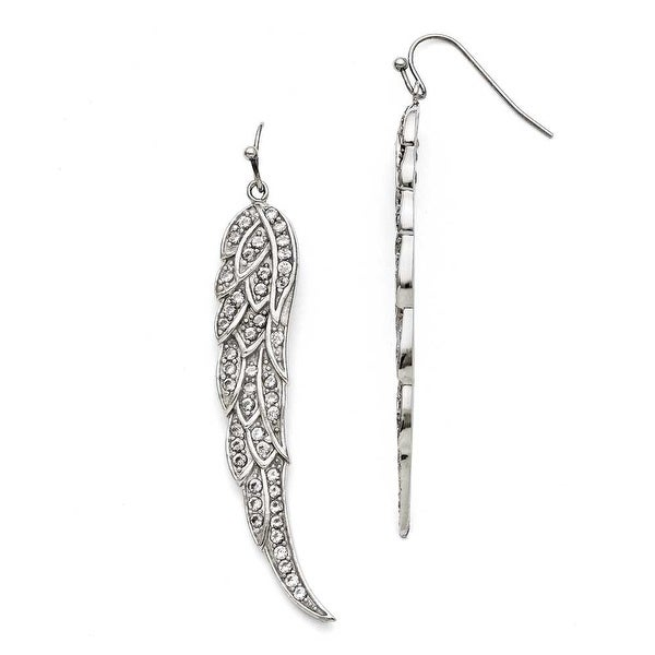 Chisel Stainless Steel CZ Shepherd Hook Dangle Earrings
