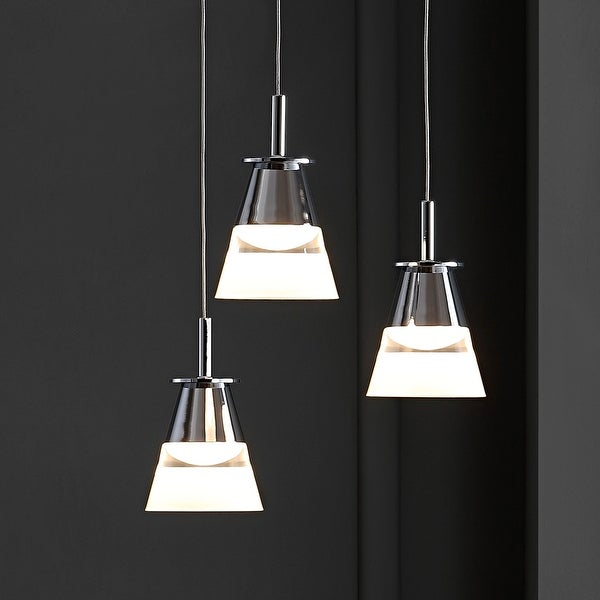"""Alain 13"""" 3-Light Adjustable Integrated Pendant, Chrome by JONATHAN Y. Opens flyout."""