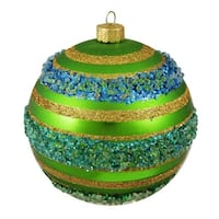 "Green Matte Beaded Striped Shatterproof Christmas Ball Ornament 4"" (100mm)"