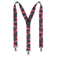 CTM® Men's Big & Tall Elastic American Flag Suspender with Hook Ends