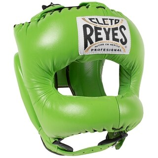 Cleto Reyes Traditional Leather Boxing Headgear w/ Nylon Face Bar - Citrus Green