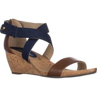 AK Anne Klein Sport Crisscross Wedge Sandals, Blue Multi