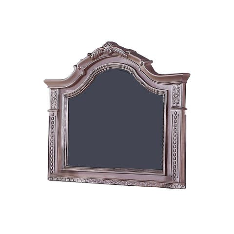 Wall Mirror with Wooden Carvings and Crown Top Frame, Pink