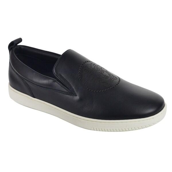 fcb8e21a Versace Black Leather Perforated Medusa Head Slip On Sneaker