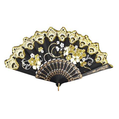Lady Summer Plastic Frame Flower Print Hanging Chinese Dancing Cooling Hand Fan - Black