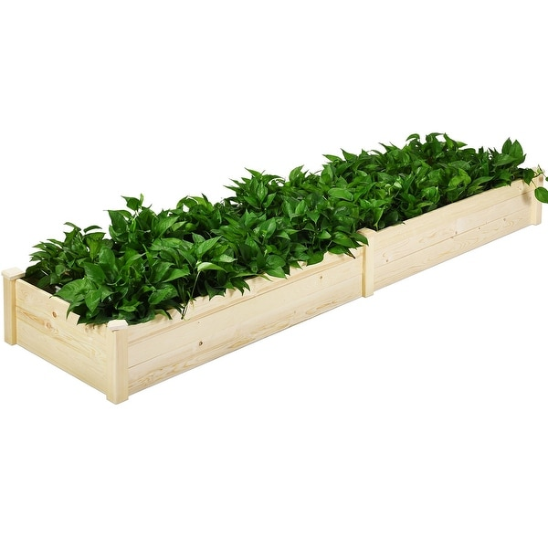 Costway Raised Garden Bed Wooden Elevated Planter Box Herbs Flowers Vegetables Bed Kit - as pic