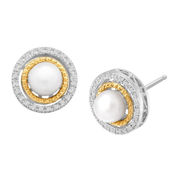 Freshwater Pearl and 1/8 ct Diamond Stud Earrings in Sterling Silver and 14K Gold