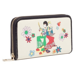 Moschino JC5531 0110 Stamped Ivory Zip Around Wallet