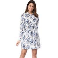Allegra K Women Self Tie Waist Above Knee Floral Shirt Dress - White