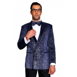 MZV-406 NAVY Men's Manzini Double Breasted Velvet, sport coat