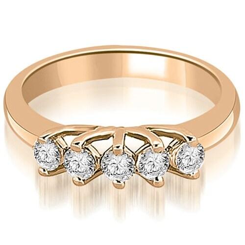 0.50 cttw. 14K Rose Gold Round Diamond Two Prong Wedding Band