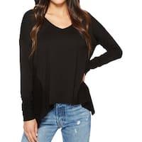 Three Dots Black Womens Size Small S V-Neck Long Sleeve Knit Top