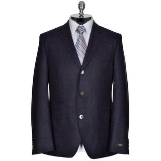 Hugo Boss The Johnston2 Blue Wool 3-Button Sportcoat 42R Red Windowpanes