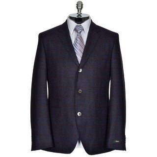 HUGO BOSS The Johnston2 Blue Wool 3-Button Sportcoat 42R Red Windowpanes $695