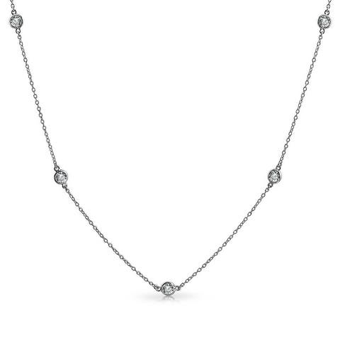Minimalist Simple CZ By The Yard Tin Cup Chain Necklace For Women 14K Gold Plated 925 Sterling Silver 16 18 20 24 36 In